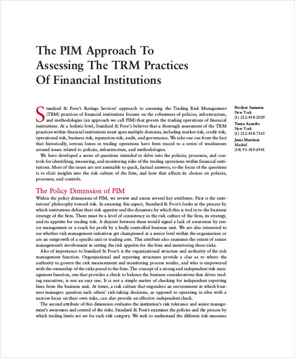 enterprise risk management for financial institutions