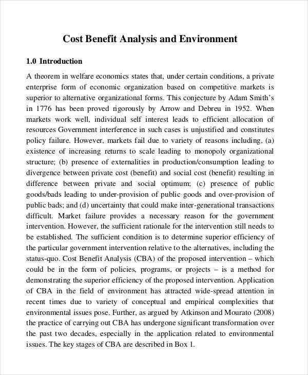 cost benefit analysis paper