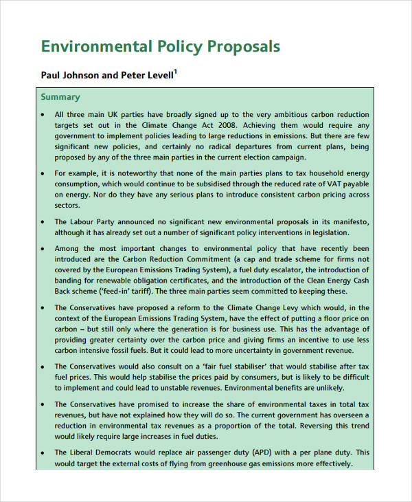 Policy Proposals Examples  Samples