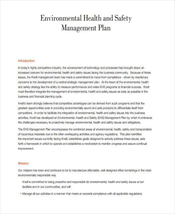 environmental safety management plan