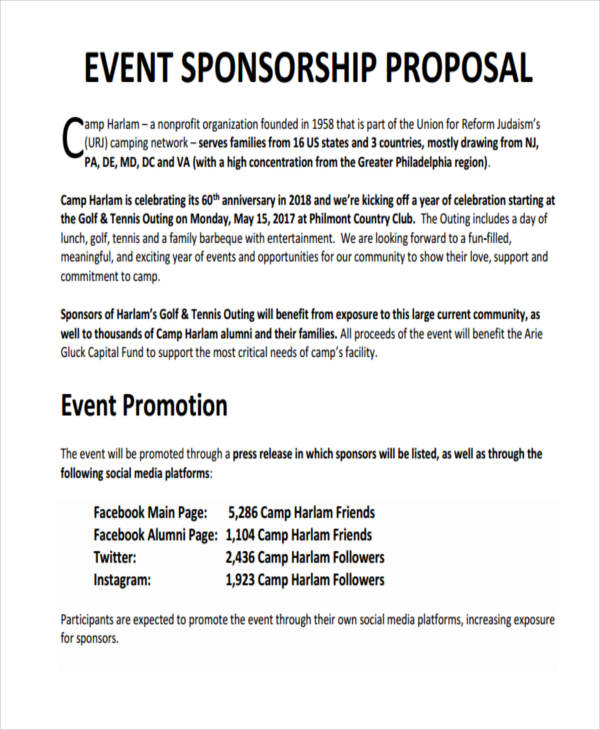 7 Sponsorship Proposal Examples Samples – Sponsorship Proposals for Events