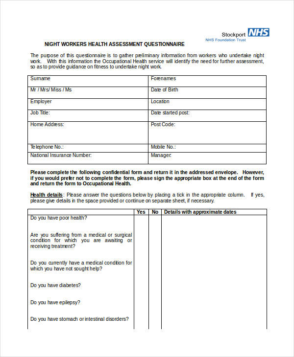 example health assessment questionnaire
