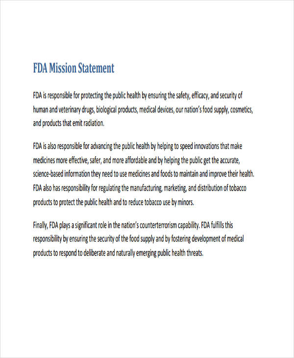 fda mission need statement