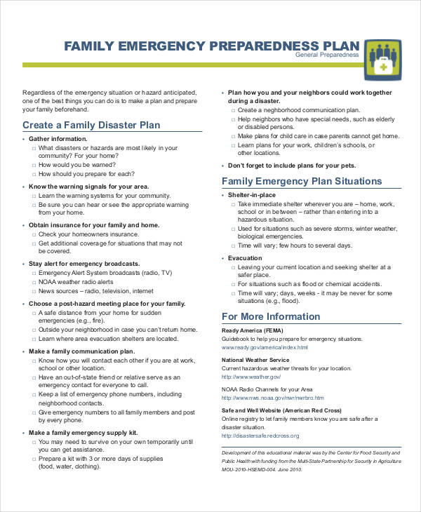 family emergency preparedness plan
