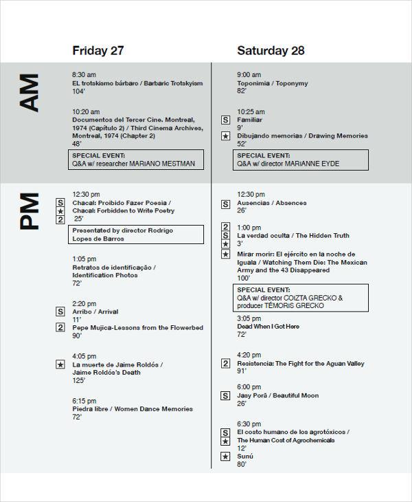 film festival agenda