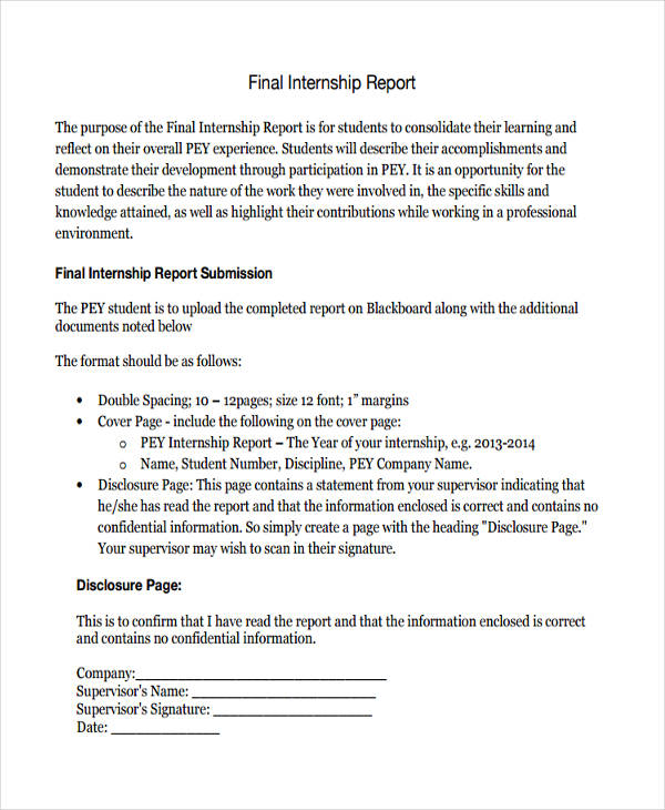 Internship Report Examples  Samples  Pdf