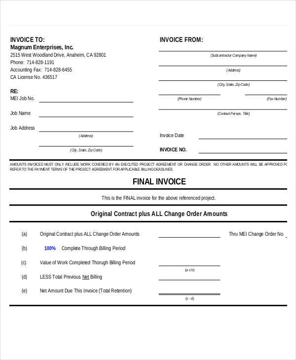 final invoice