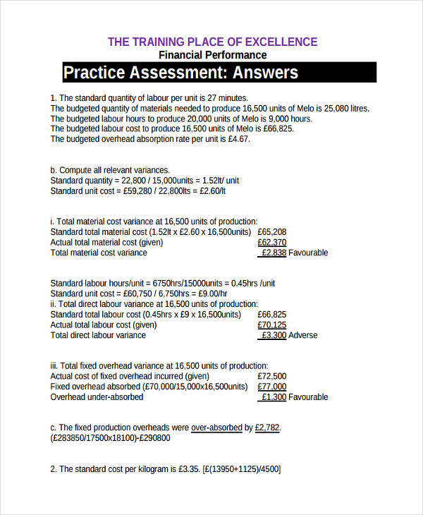financial performance practice