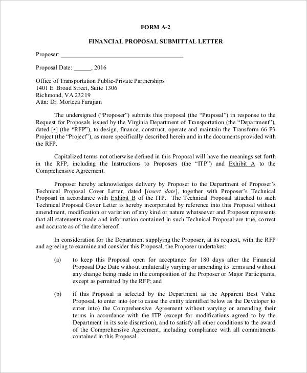 financial proposal letter