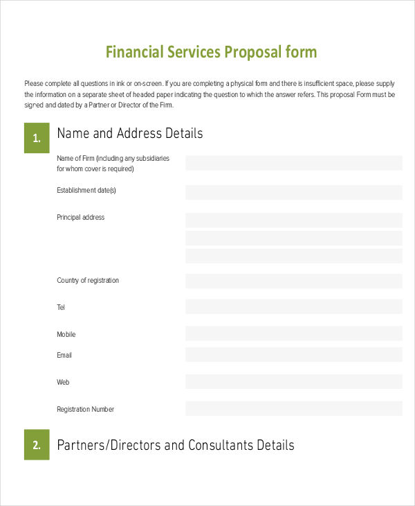 Financial Services Proposal Form