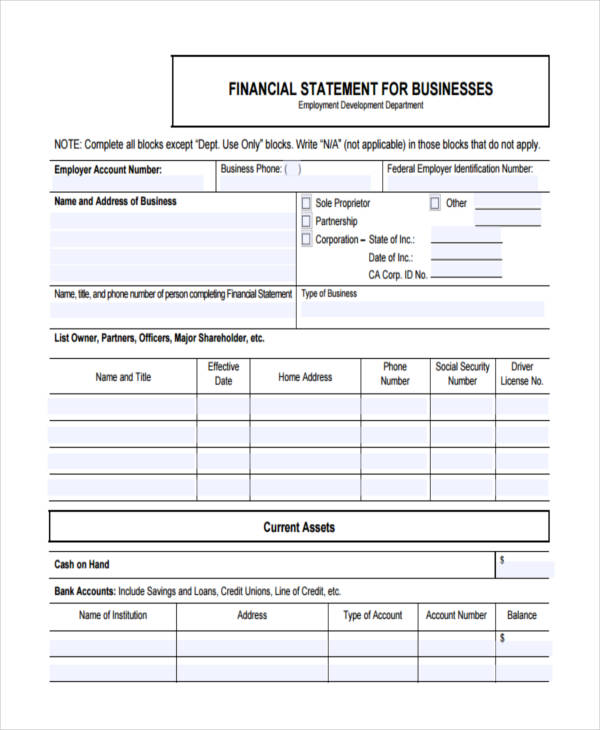 financial statement for businesses