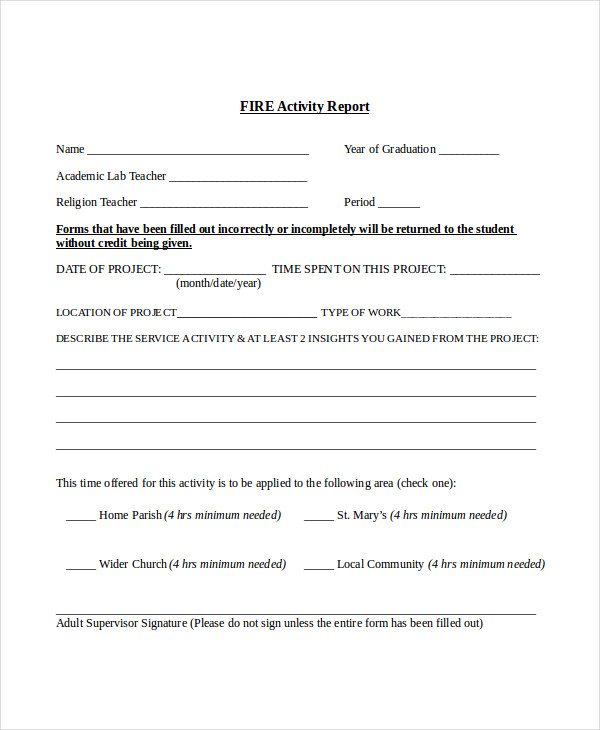 Sample Activity Report Sample Sales Activity Report Template