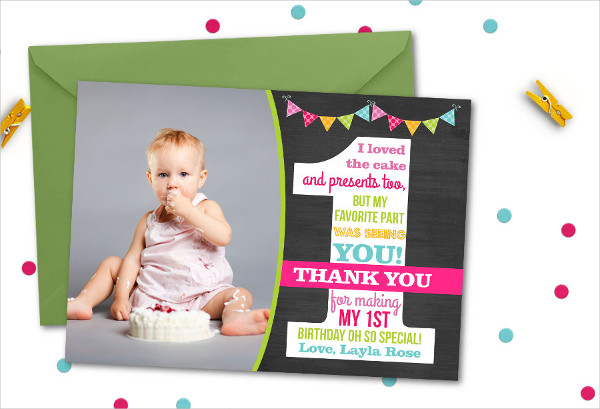 30 ThankYou Card Designs and Examples – First Birthday Thank You Cards