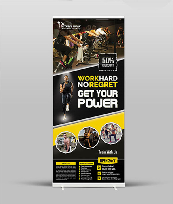 Fitness Roll Up Banner Design