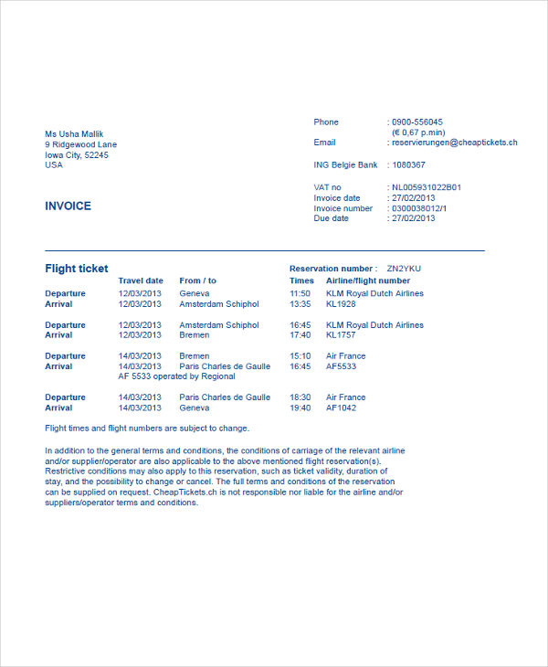 Travel Invoice Examples Samples - Invoice klm