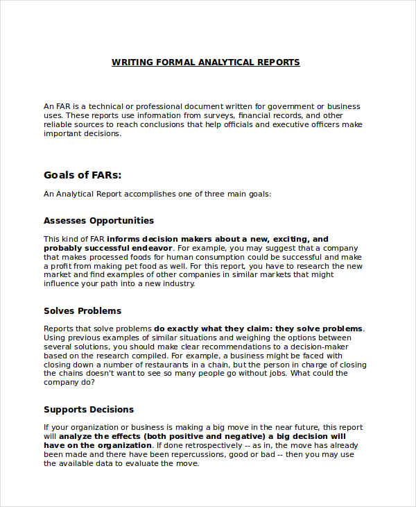 formal report samples formal analytical report sample