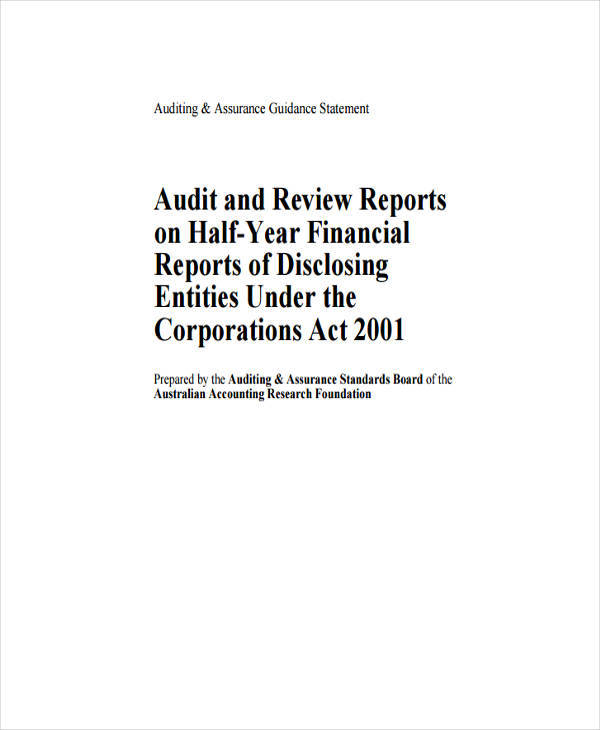 Formal Audit And Review Report Sample