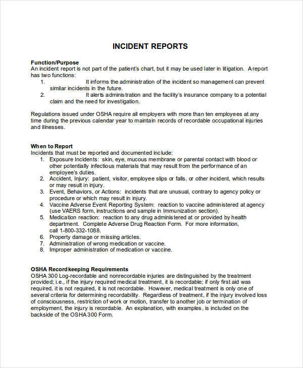 Formal Incident Report  Formal Report Format Sample
