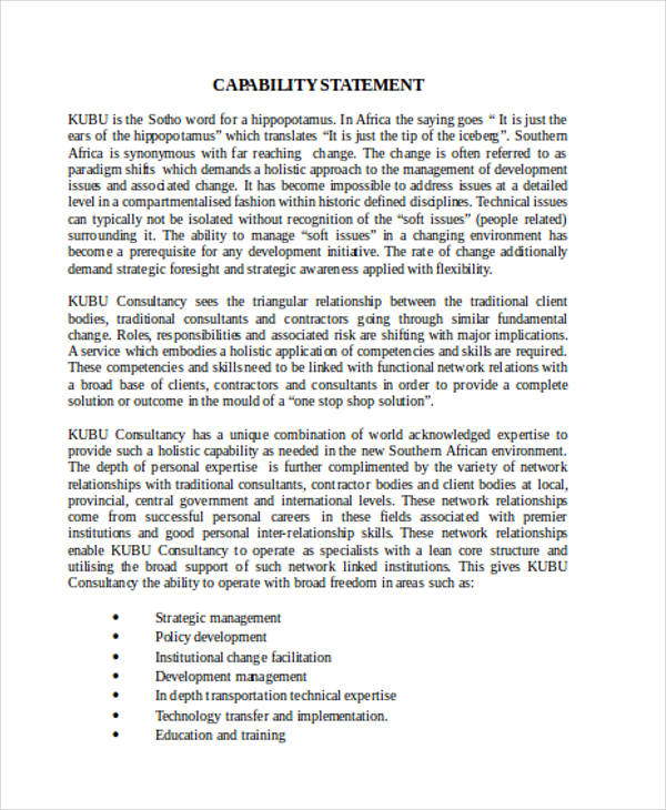 free capability statement