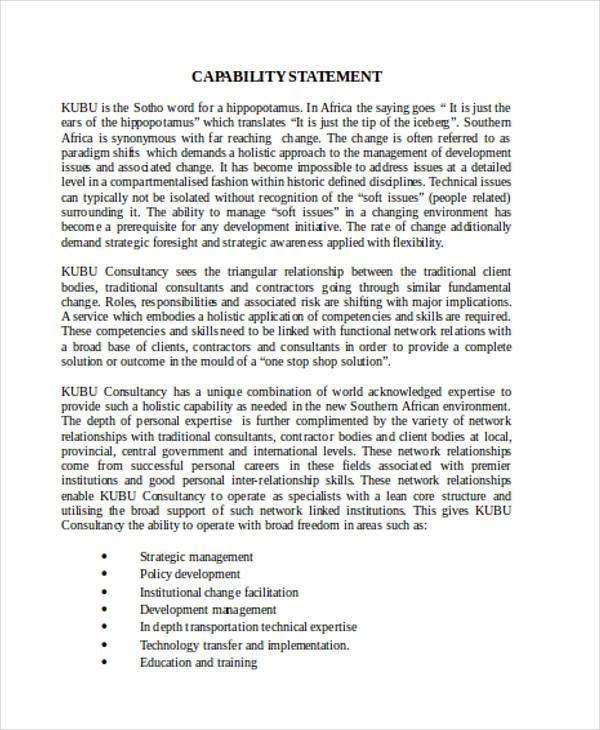 free capability statement