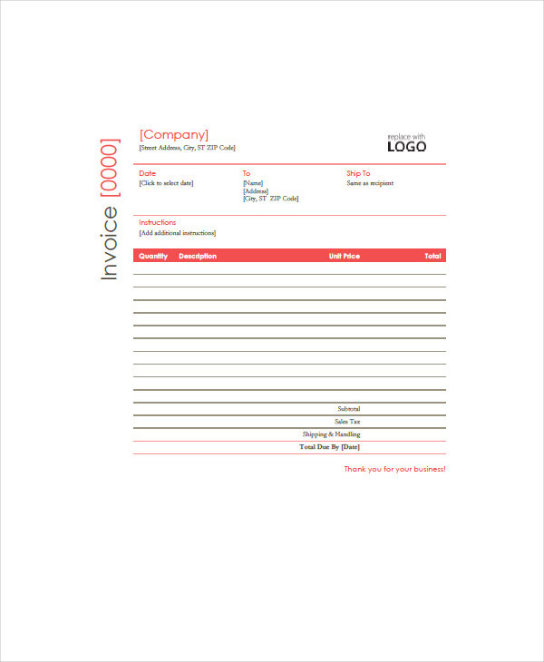 Free Construction Sample  Construction Invoice Example