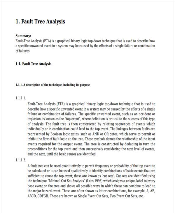 fault tree analysis example pdf