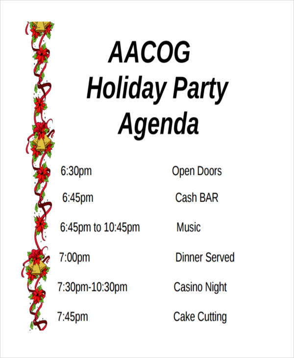 free holiday party agenda