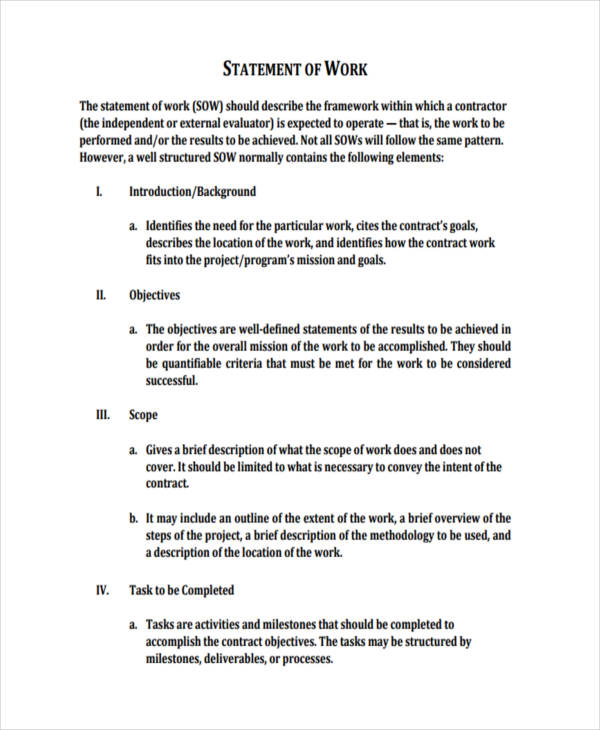 50 statements examples samples in pdf for Statement of works template