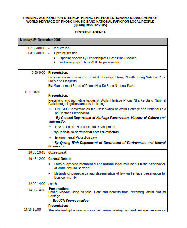 free workshop agenda