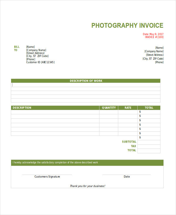 freelance photography invoice