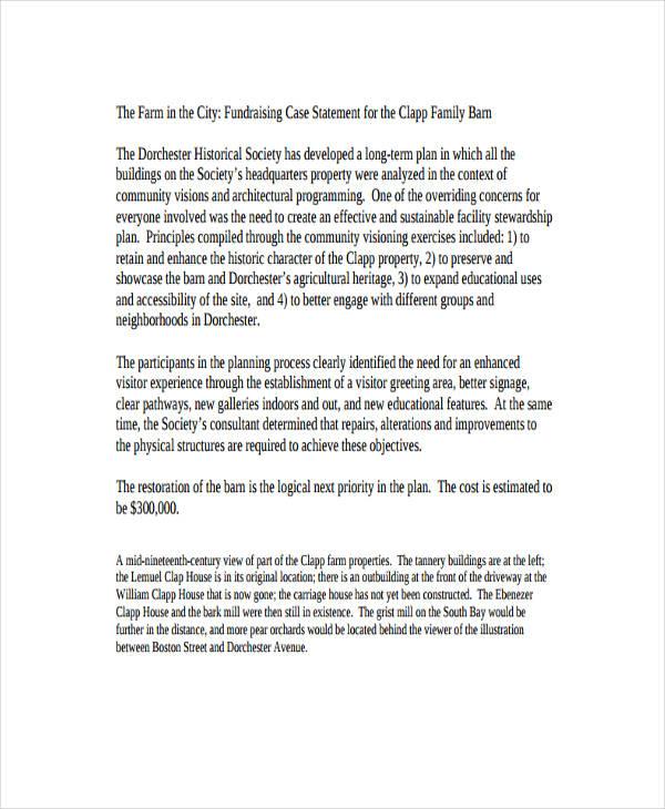 fundraising case statement