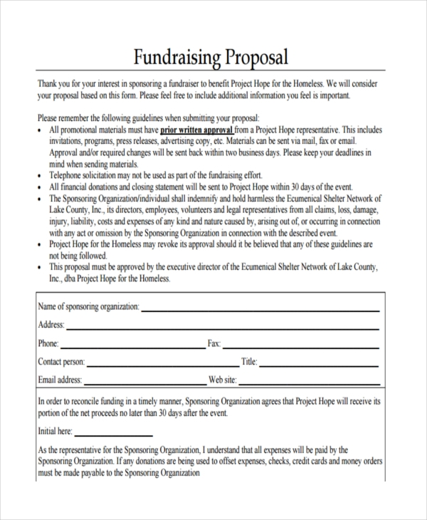 Fundraising Proposal Examples Samples