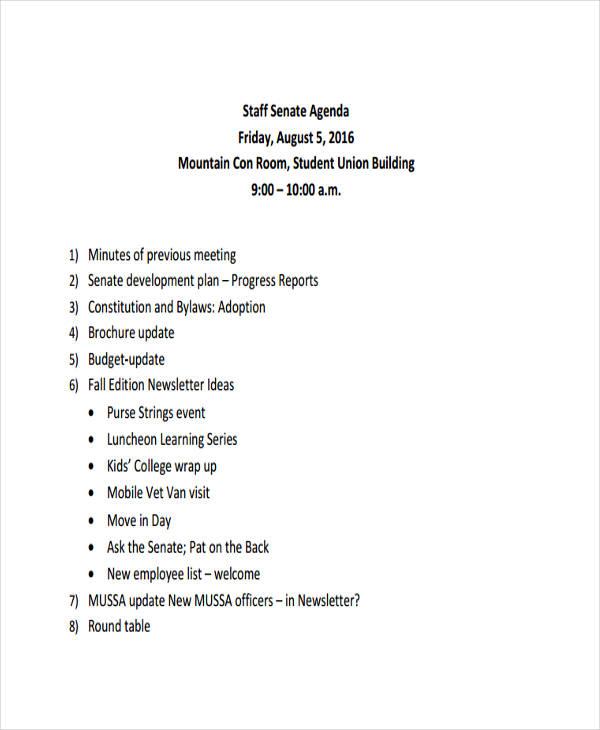 Agenda Examples In