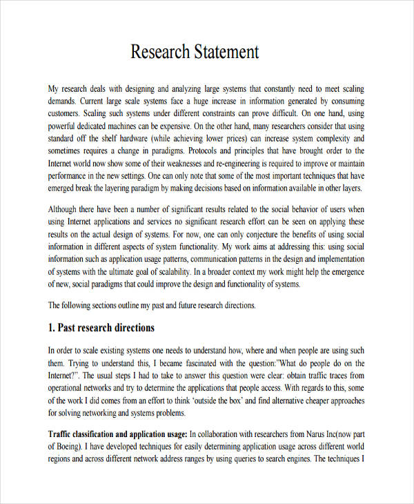 generic research statement