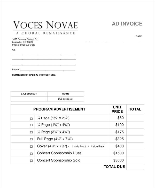Sales Invoice Examples Samples - Generic sales invoice