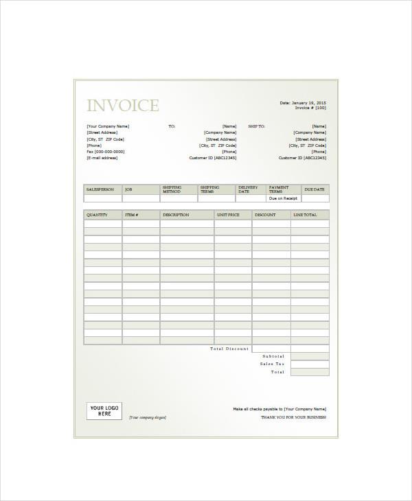 generic service invoice