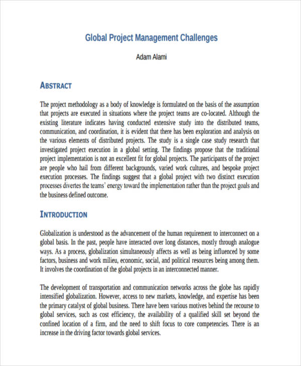 Examples Of Project Management Documents