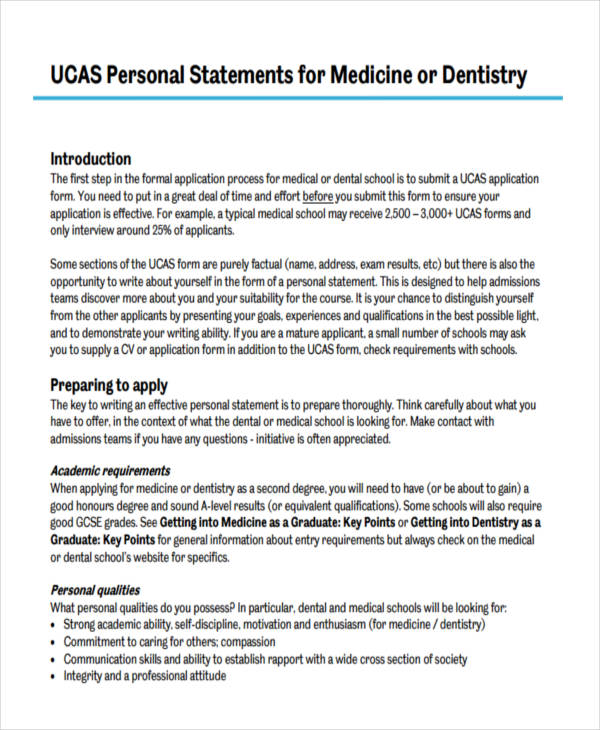 Medical school admissions personal statement