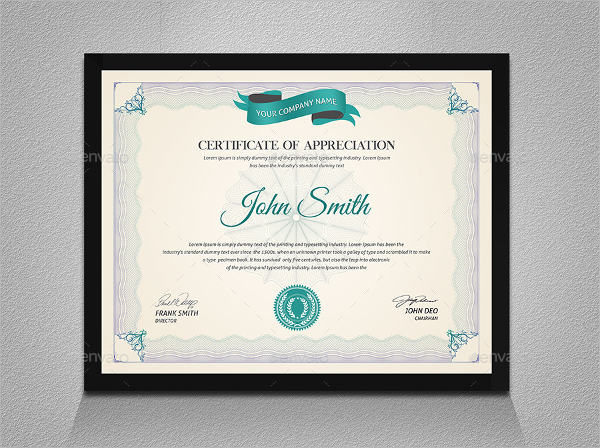 Free 16  Examples Of Certificate Of Appreciation In Publisher