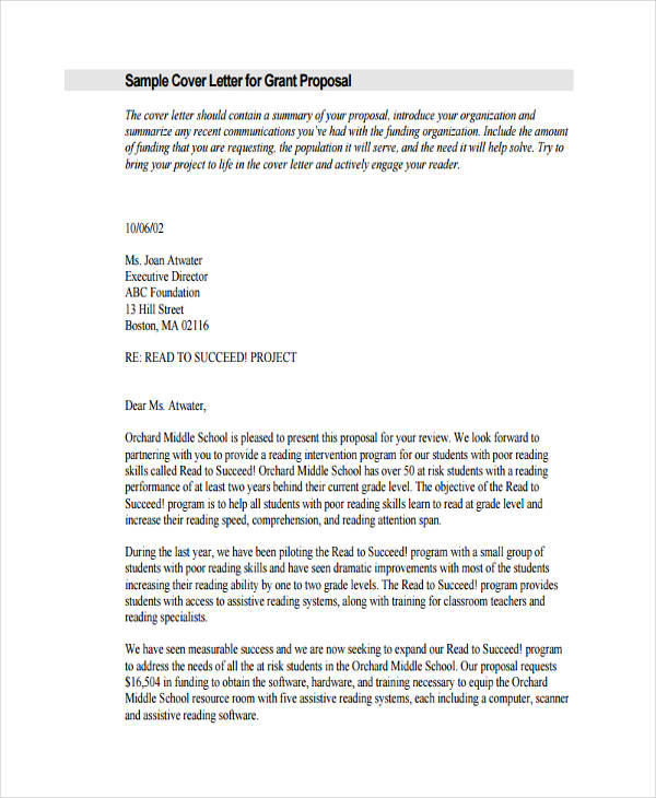 sample grant proposal cover letter