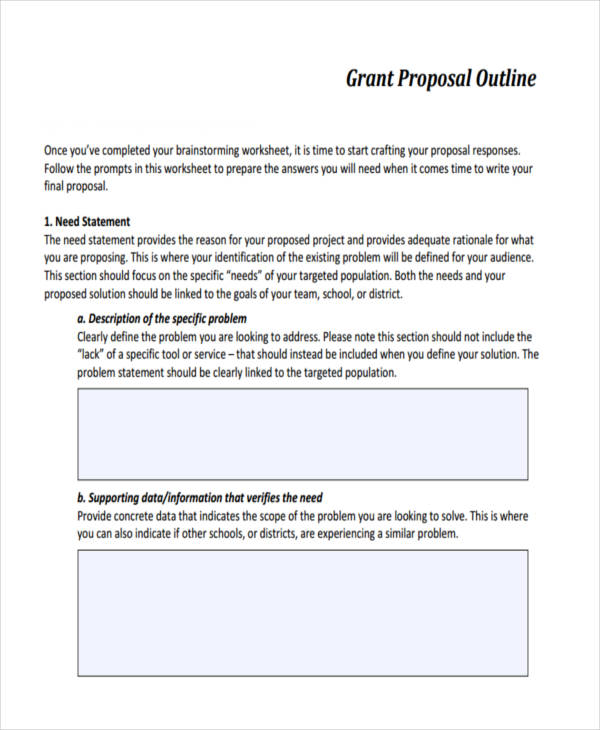 grant proposal needs statement
