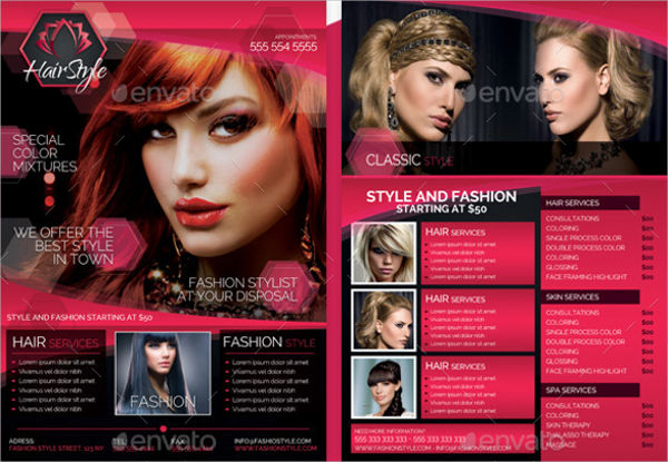 hair salon advertising flyer