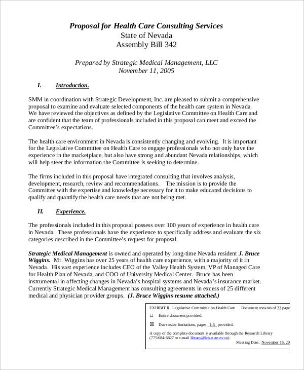 health care consulting proposal