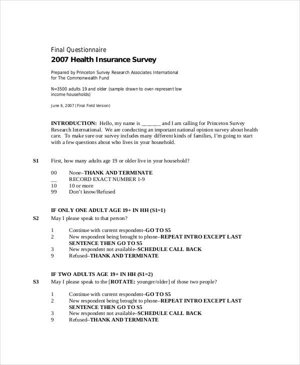 health insurance survey questionnaire