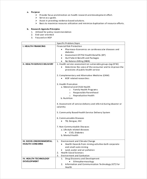 Health Research Agenda Example  Agenda Layout Examples