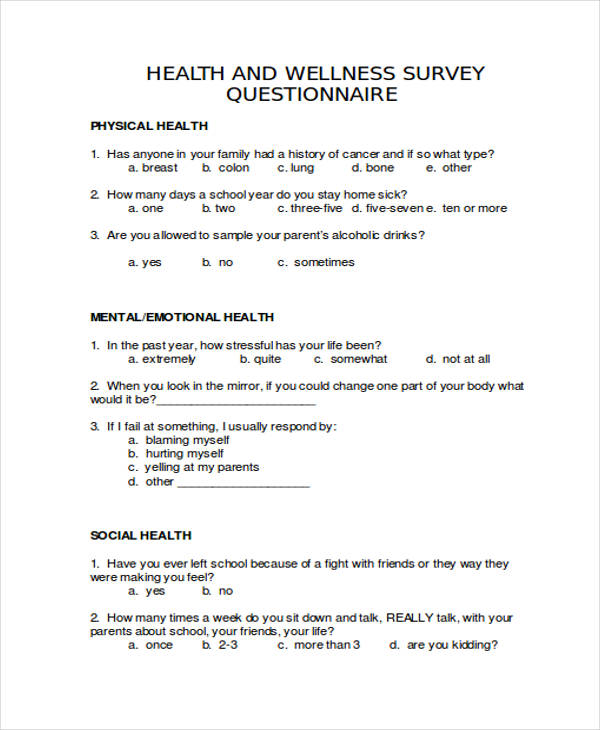 29 survey questionnaire examples pdf for Health assessment questionnaire template