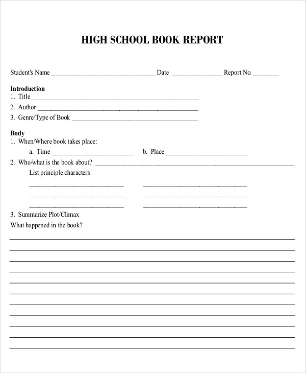 High school book reports