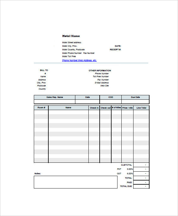 6+ Hotel Invoice Examples, Samples