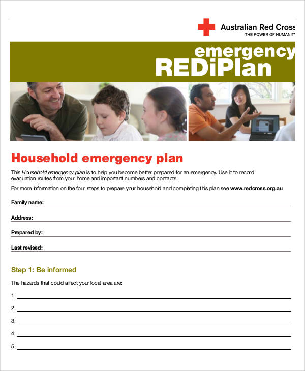 household emergency example plan