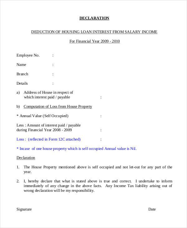 housing loan statement